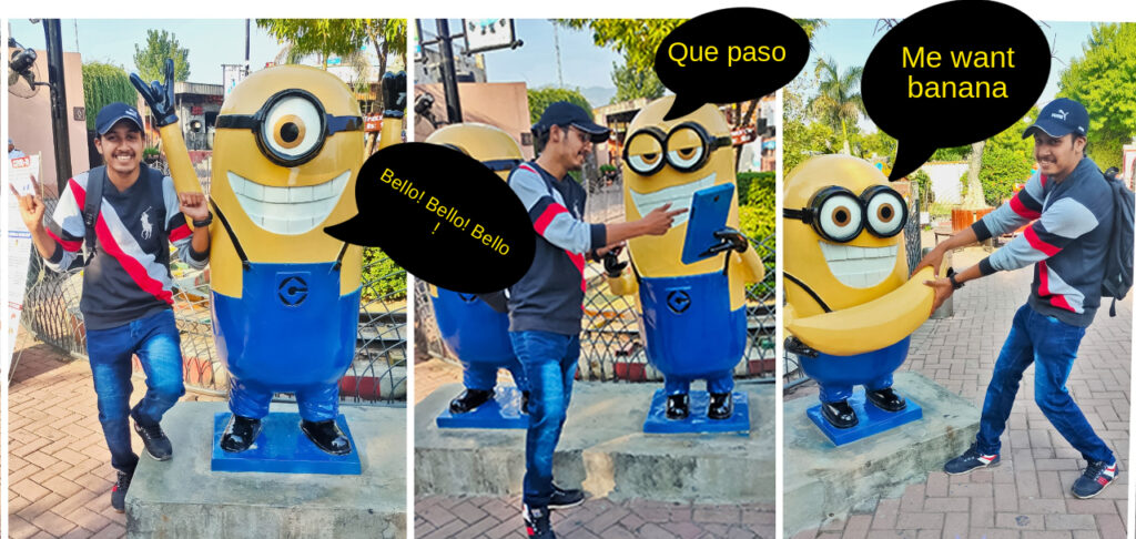 thank you minion , image showing 3 pics of minion talking in minionese language